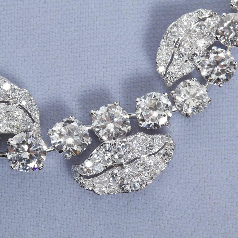 French Garland Diamond Platinum Necklace 52 Carats For Sale 5