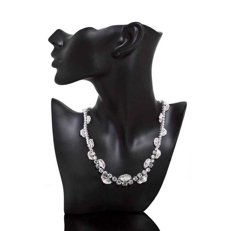 Women's French Garland Diamond Platinum Necklace 52 Carats For Sale