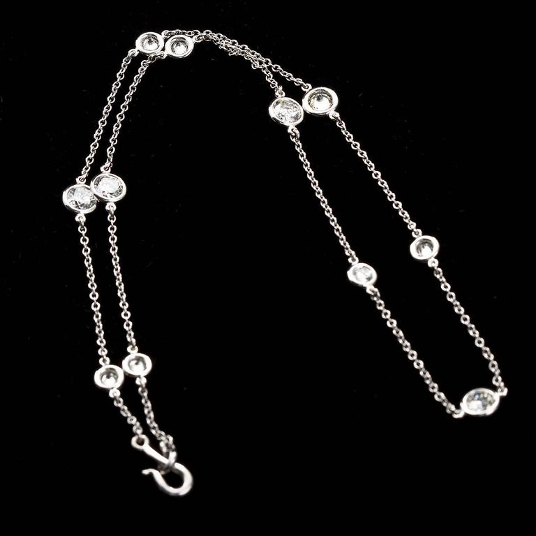 Women's 4.80 Carat Diamond by the Yard Necklace For Sale
