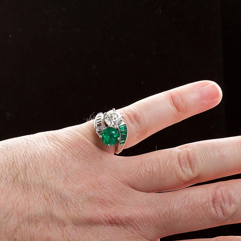 Colombian Emerald Diamond Bypass Ring GIA and AGL Certified For Sale 2