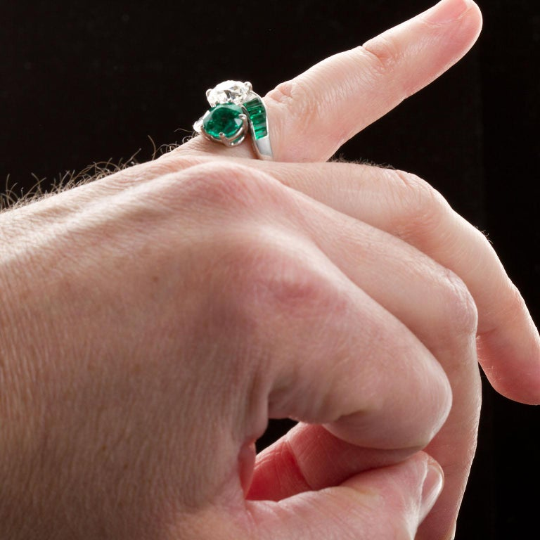 Colombian Emerald Diamond Bypass Ring GIA and AGL Certified For Sale 3