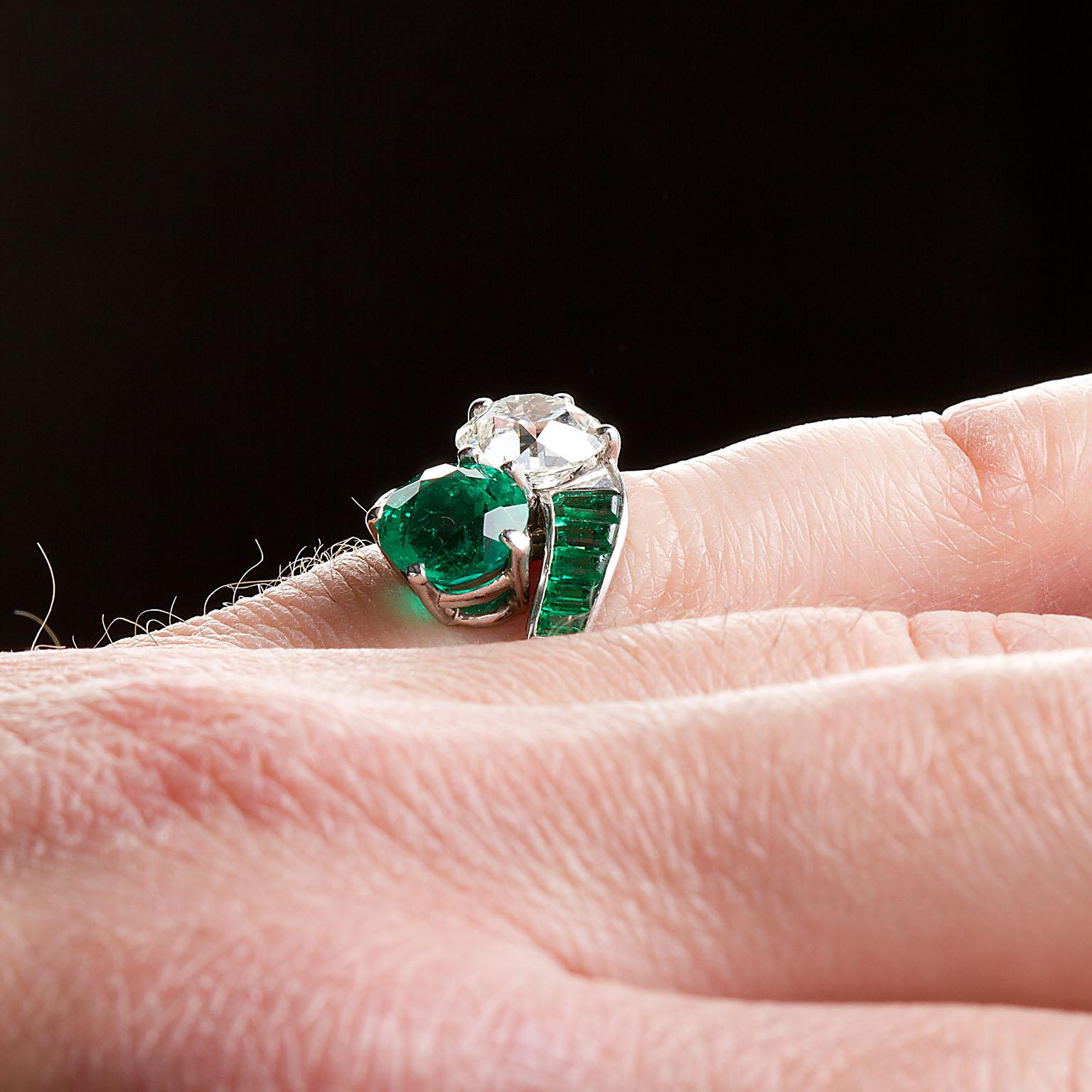 Colombian Emerald Diamond Bypass Ring GIA and AGL Certified For Sale ...