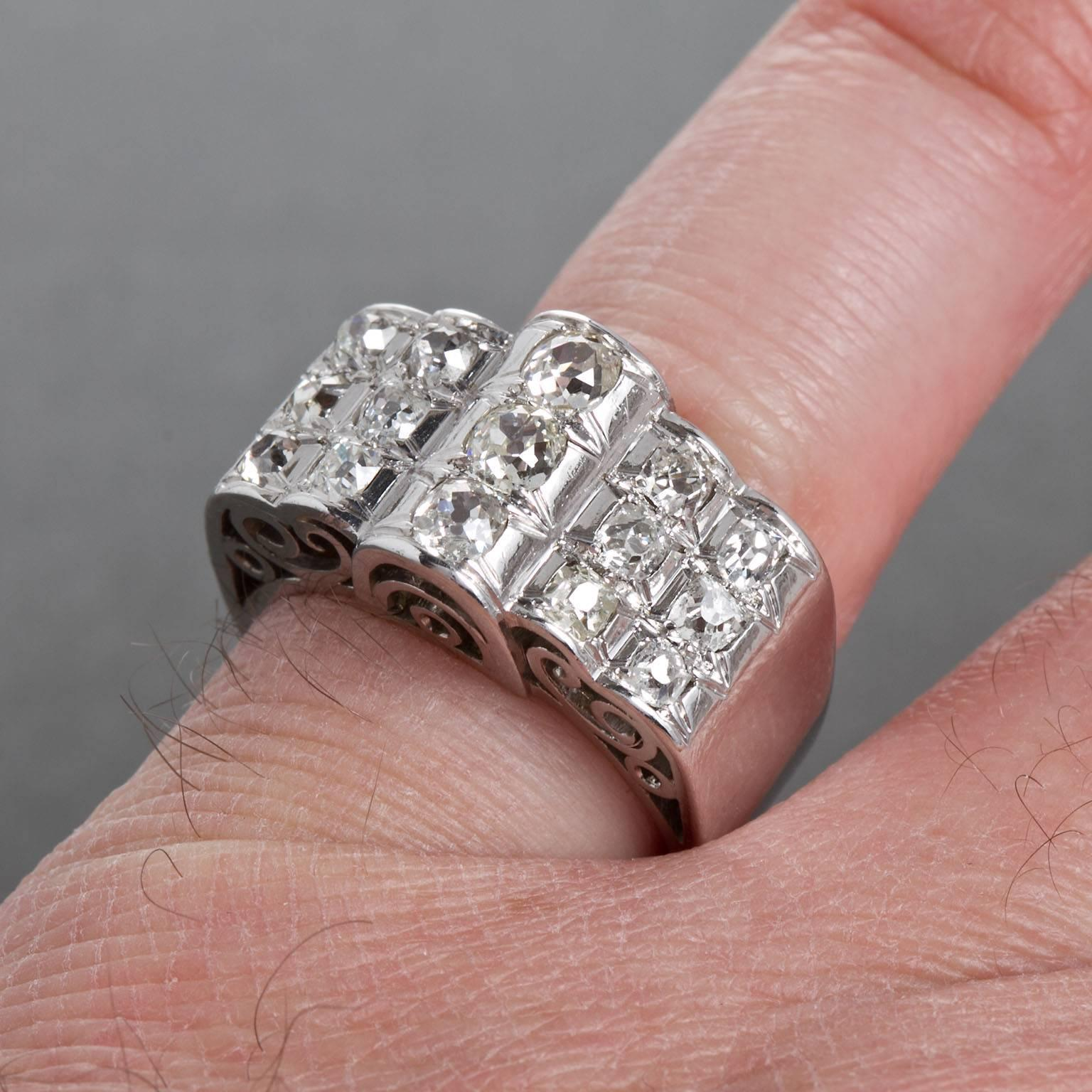 Diamond Gold Three Row Filigreed Motif Ring For Sale at 1stdibs