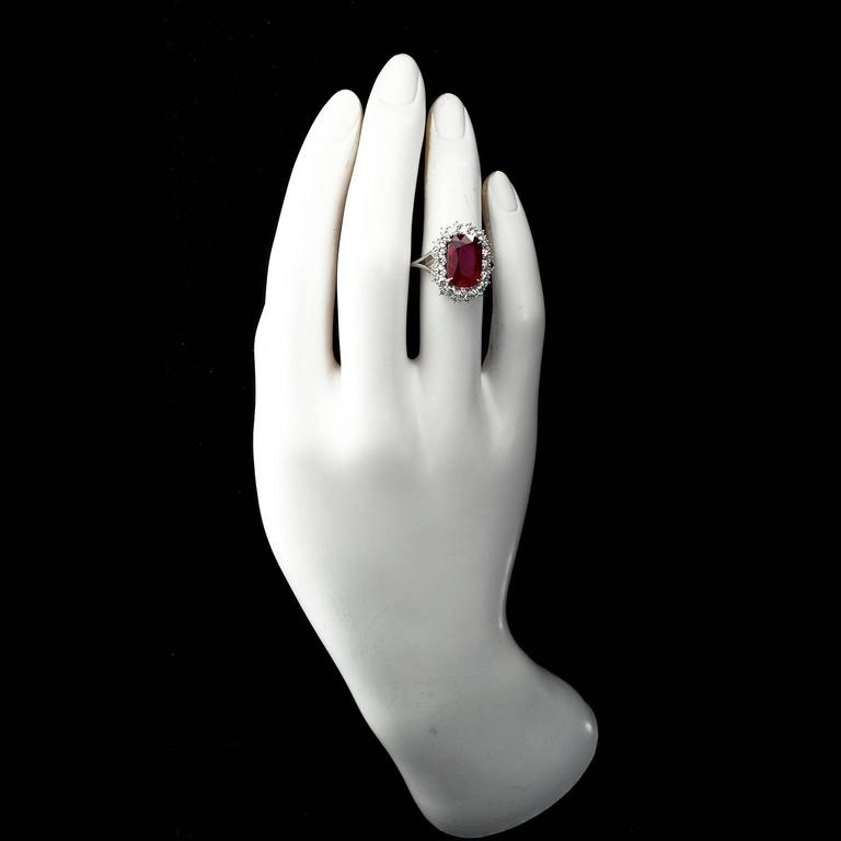 5.95 Carat Cushion Cut Pigeon Blood Ruby Ring GRS Cert In New Condition For Sale In New York, NY