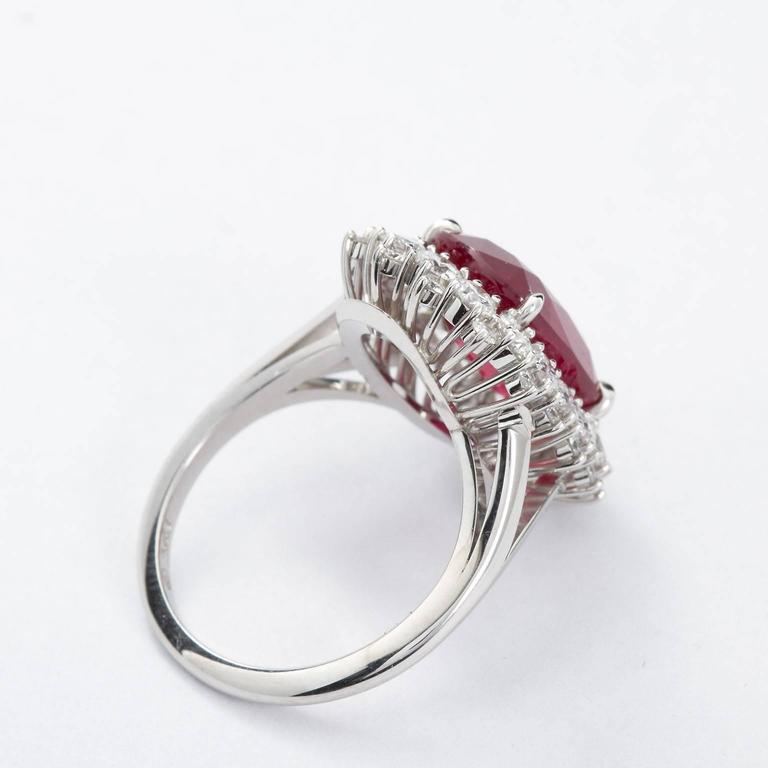 Women's 5.95 Carat Cushion Cut Pigeon Blood Ruby Ring GRS Cert For Sale