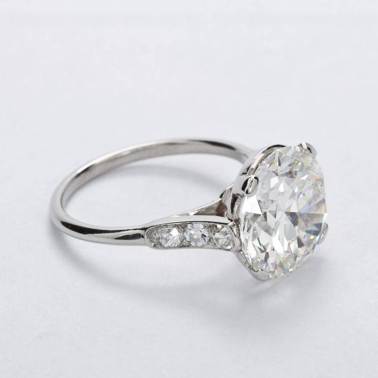 Art Deco CARTIER Paris Four Carat Diamond Engagement Ring GIA For Sale