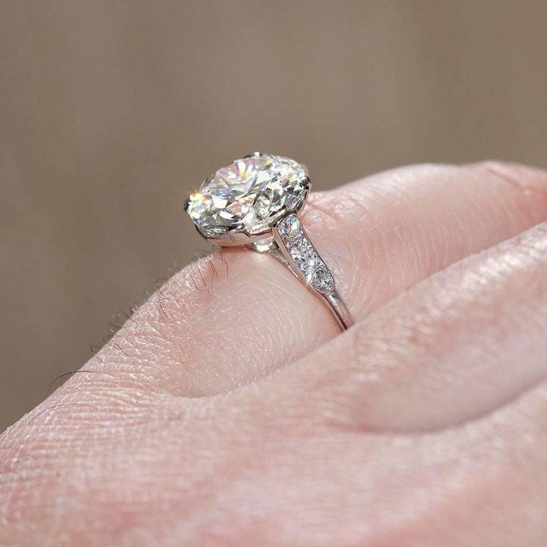 CARTIER Paris Four Carat Diamond Engagement Ring GIA For Sale 1