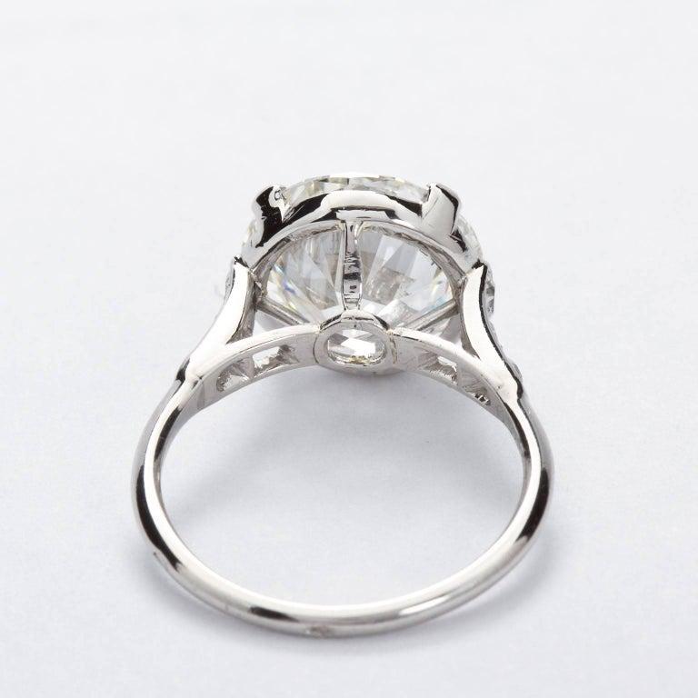 Round Cut CARTIER Paris Four Carat Diamond Engagement Ring GIA For Sale
