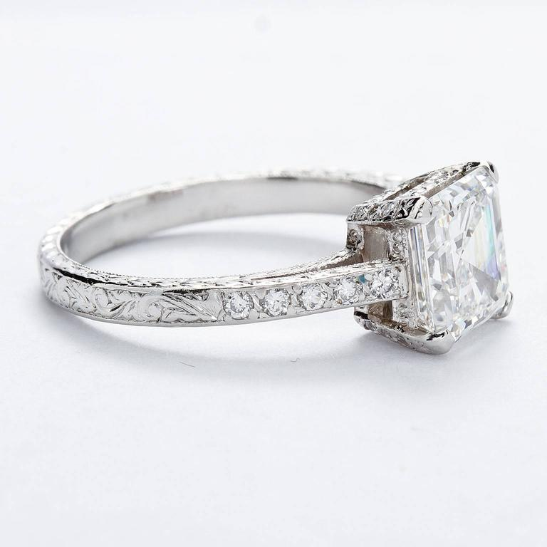 2.52 Carat GIA Square Emerald Asscher Cut Diamond platinum Engagement Ring In Excellent Condition For Sale In New York, NY