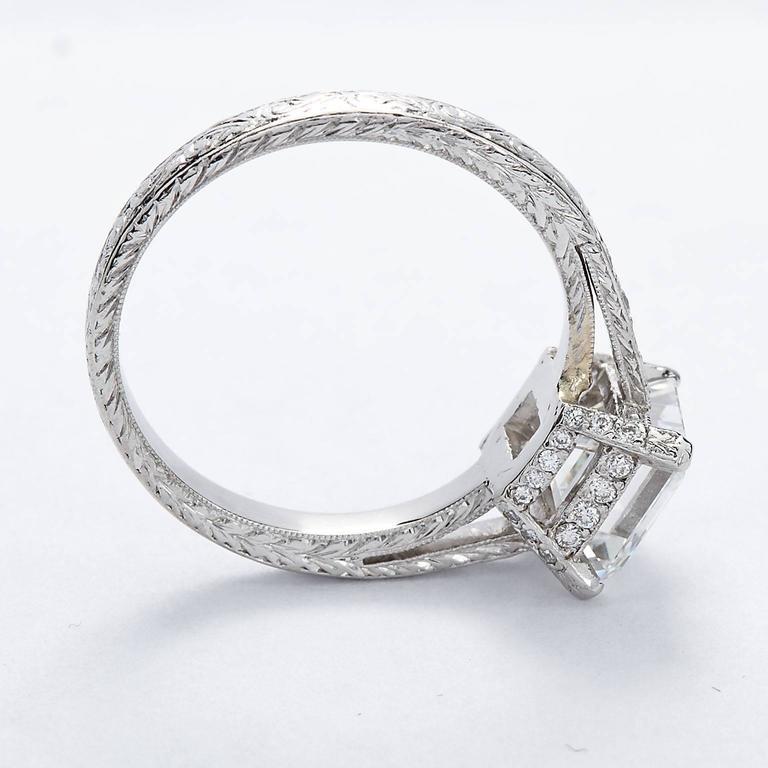 2.52 Carat GIA Square Emerald Asscher Cut Diamond platinum Engagement Ring For Sale 1