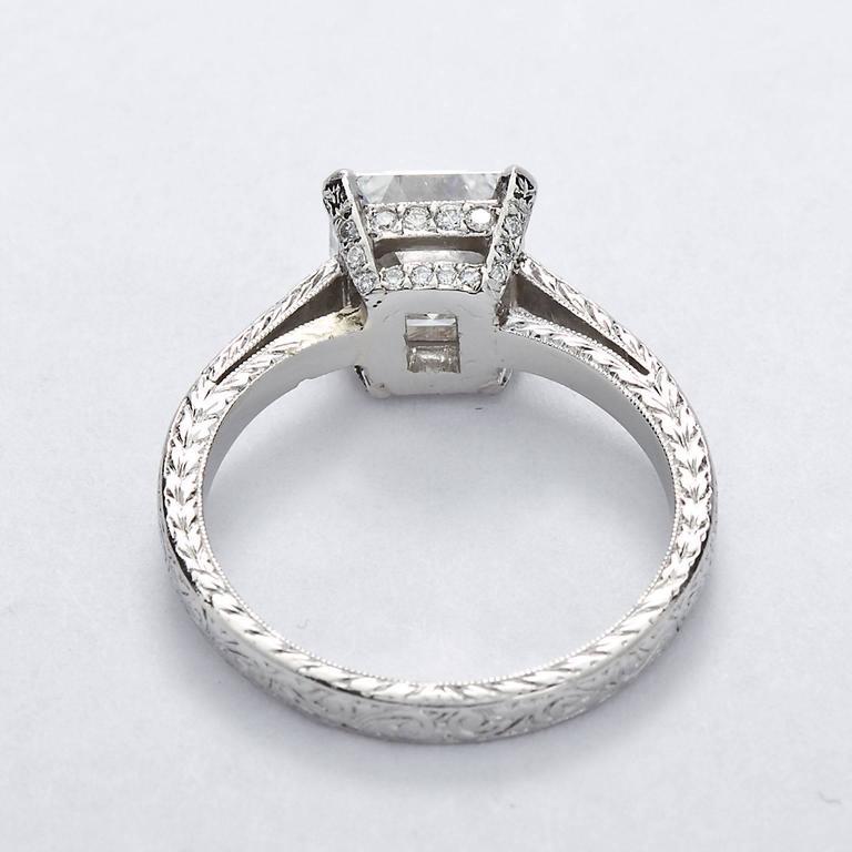 Women's 2.52 Carat GIA Square Emerald Asscher Cut Diamond platinum Engagement Ring For Sale