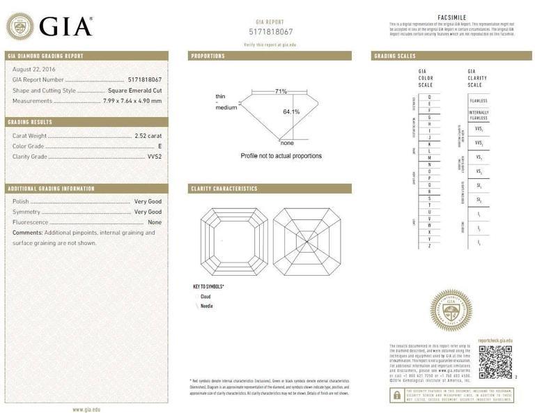 2.52 Carat GIA Square Emerald Asscher Cut Diamond platinum Engagement Ring For Sale 2