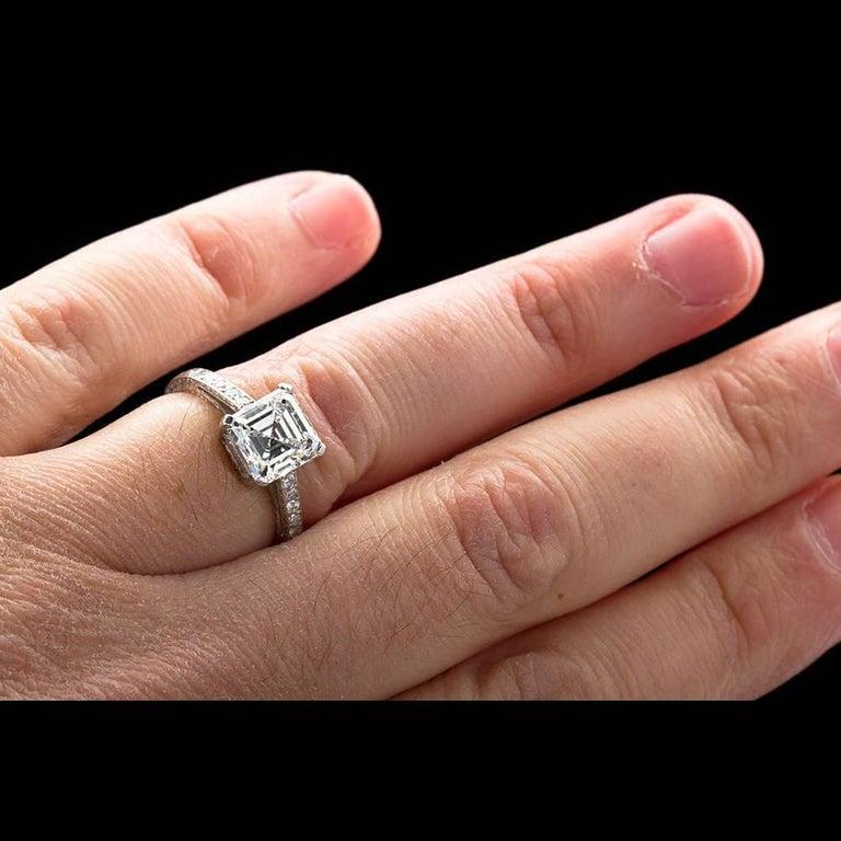 2.52 Carat GIA Square Emerald Asscher Cut Diamond platinum Engagement Ring For Sale 3