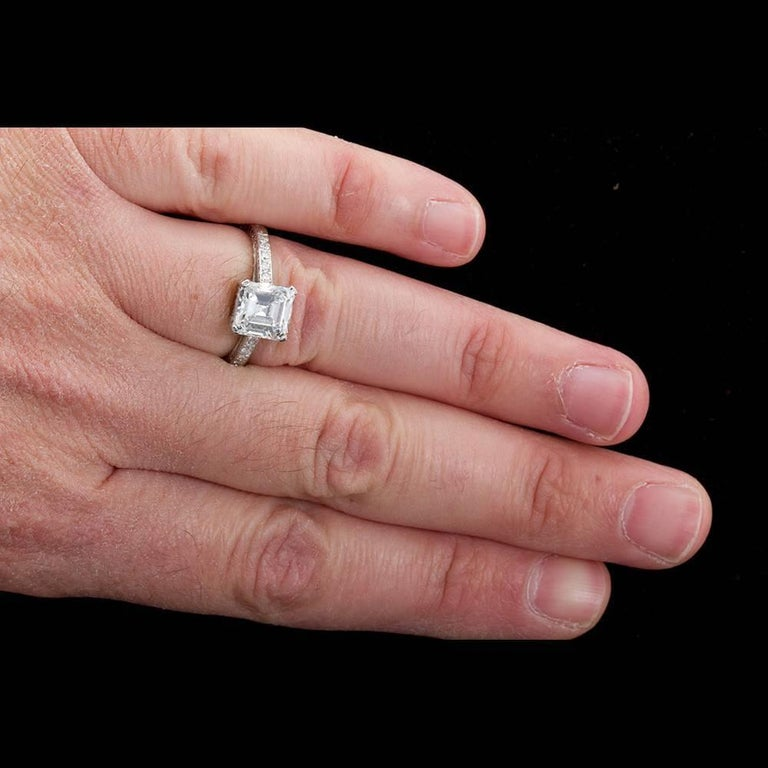 2.52 Carat GIA Square Emerald Asscher Cut Diamond platinum Engagement Ring For Sale 5