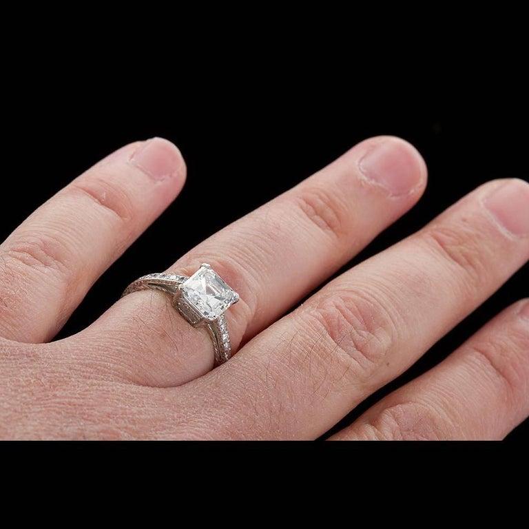 2.52 Carat GIA Square Emerald Asscher Cut Diamond platinum Engagement Ring For Sale 4