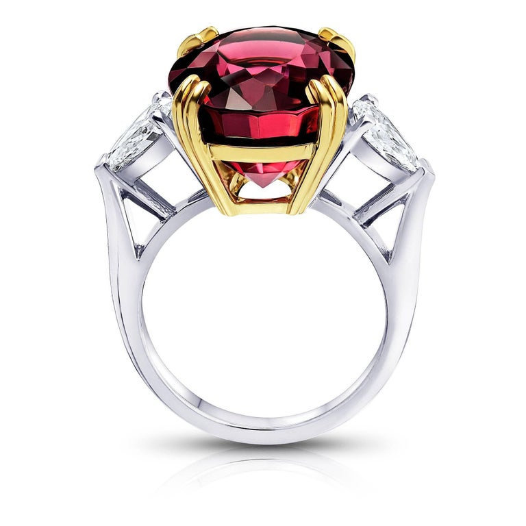 Striking 15.13 Carat Oval Red Spinel Diamond Ring 2