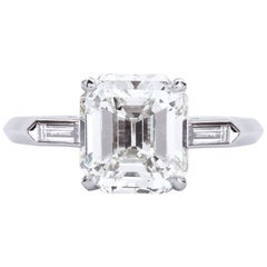 2.00 Carat Emerald Cut Diamond Platinum Engagement Ring GIA Certified