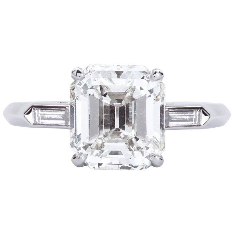 2.00 Carat Emerald Cut Diamond Platinum Engagement Ring GIA Certified