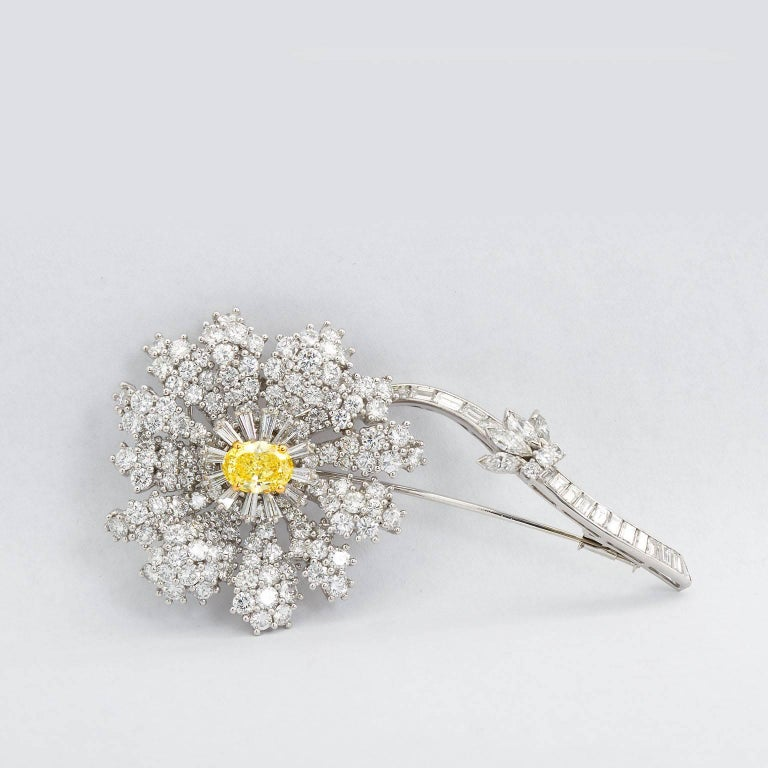 Fancy Intense Yellow and White Diamond Platinum Flower Brooch In Excellent Condition For Sale In Lakewood, NJ