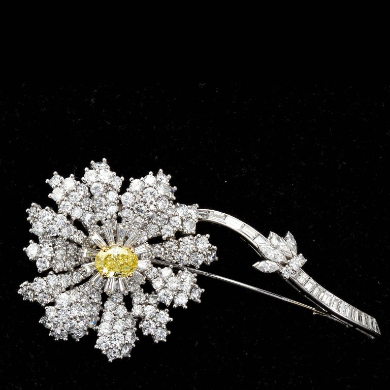 Art Deco Fancy Intense Yellow and White Diamond Platinum Flower Brooch For Sale