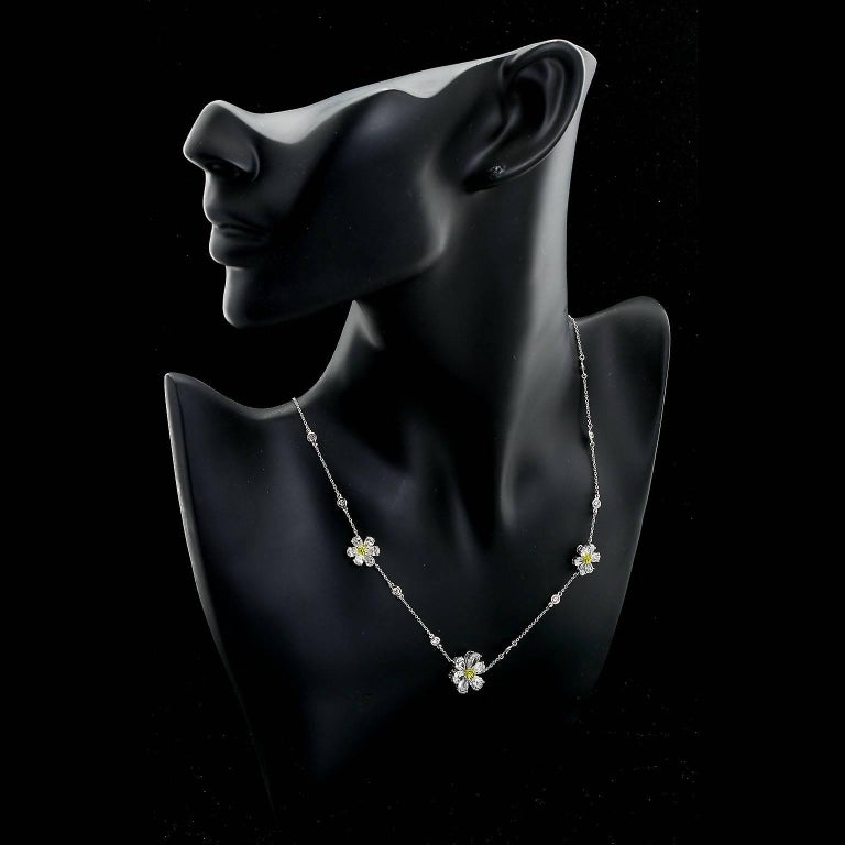 Three Flower Pendant Diamond Yard Necklace For Sale 3