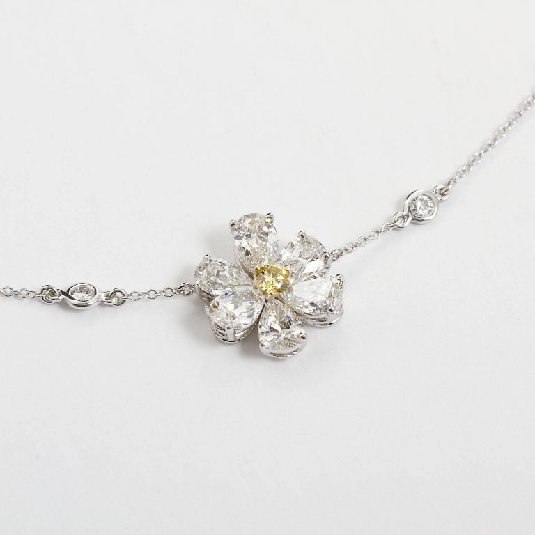 Pear Cut Three Flower Pendant Diamond Yard Necklace For Sale
