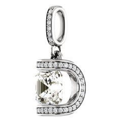 Asscher Cut Square Diamond Platinum Pave Pendant