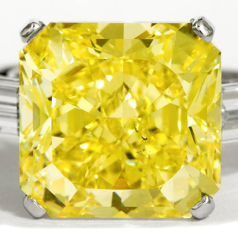 Contemporary 9.05 Carat Fancy Intense Yellow Square Radiant Diamond Engagement Ring GIA Cert For Sale