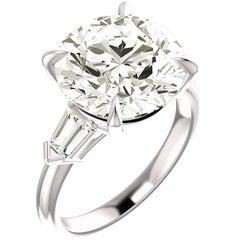 GIA Report 6.00 Carat Round Diamond Platinum Solitare Engagement Ring