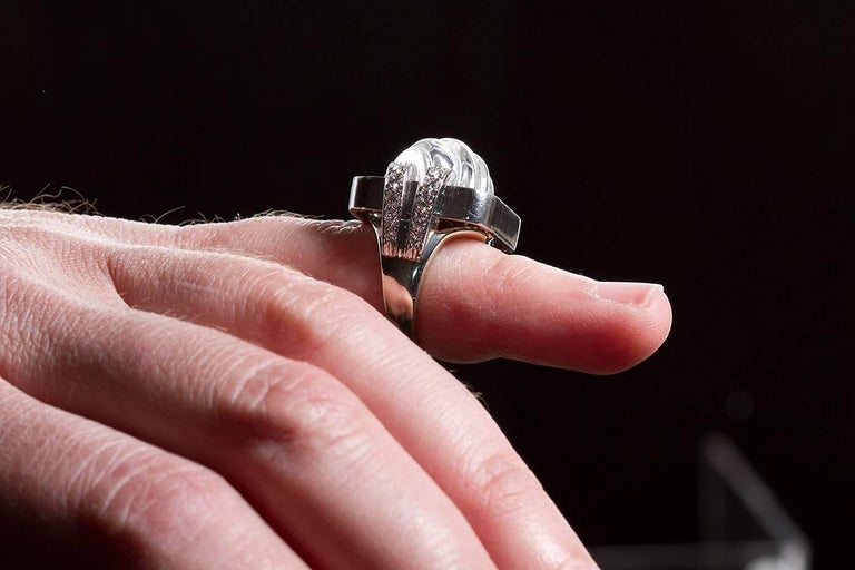 David Webb Rock Crystal Ring In Excellent Condition For Sale In New York, NY