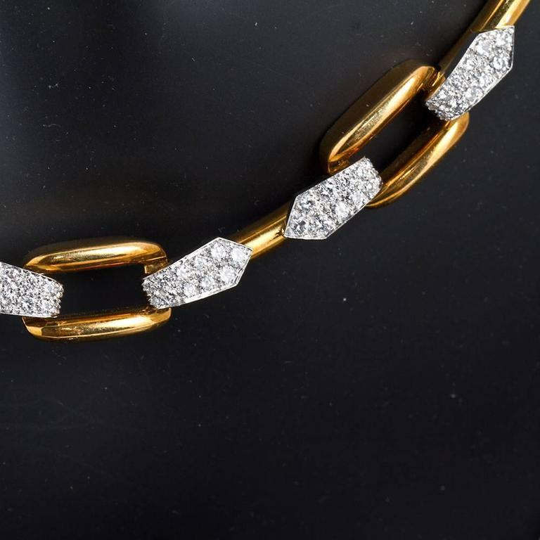 David Webb Diamond Gold Necklace In Excellent Condition For Sale In New York, NY