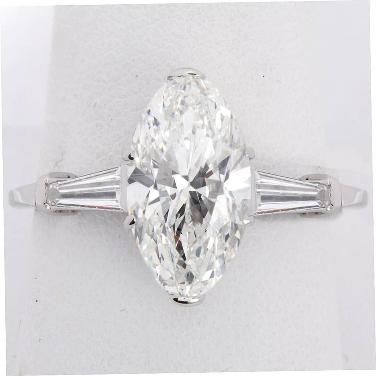 3 Carat GIA Certified Oval Brilliant Diamond Platinum Engagement Ring For Sale 1