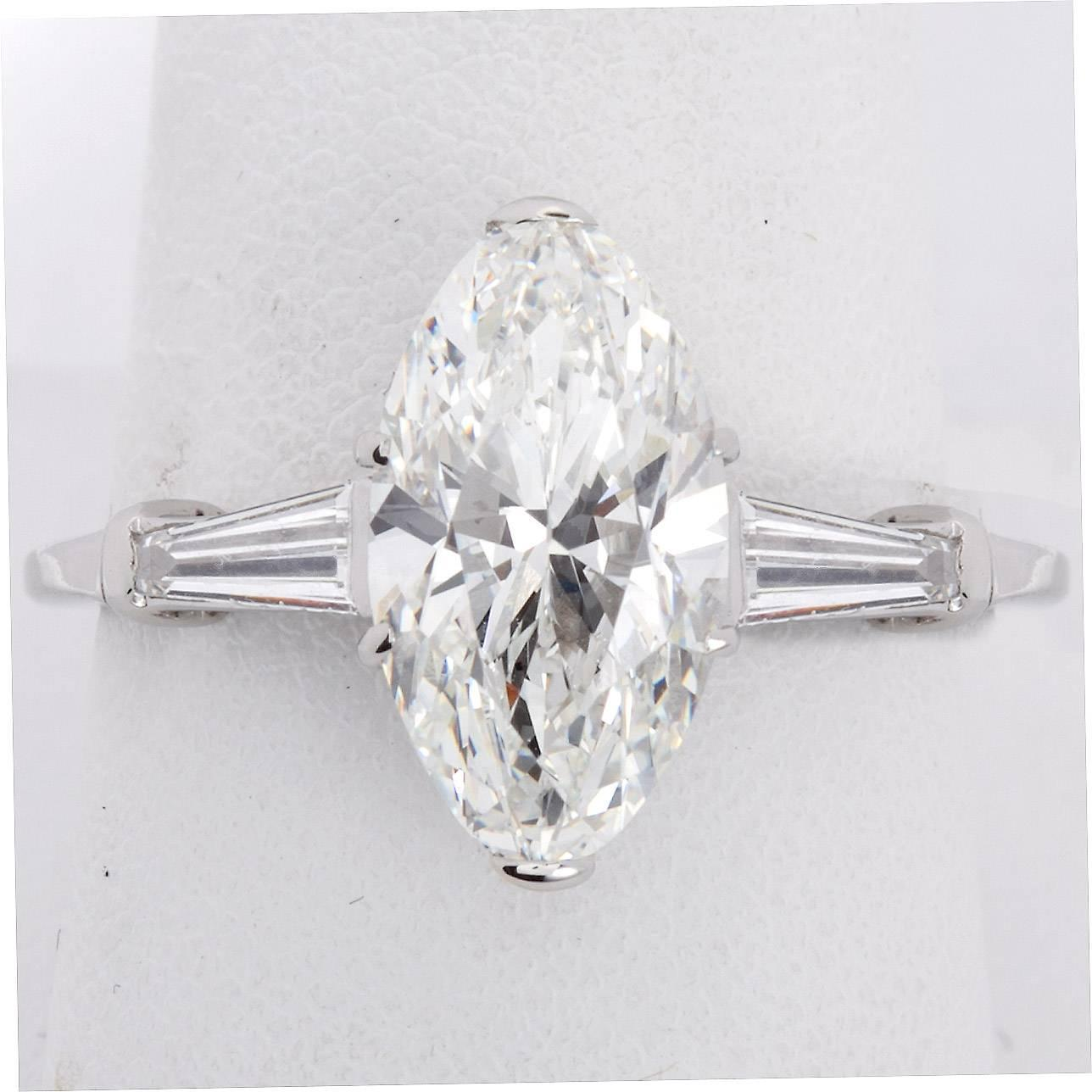 3 Carat GIA Cert Oval Brilliant Diamond Platinum Engagement Ring For Sale at