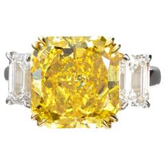 7.72 Carat Fancy Vivid Yellow Radiant Cut Diamond Engagement Ring GIA Certified