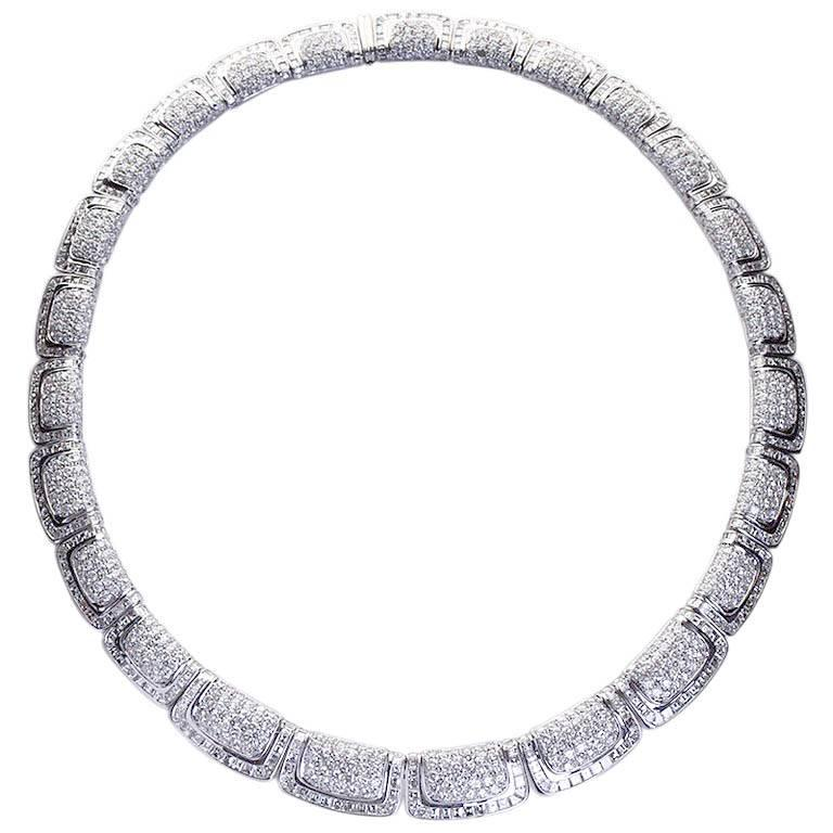 47 Carat Deco Styled Egyptian Revival Diamond Necklace