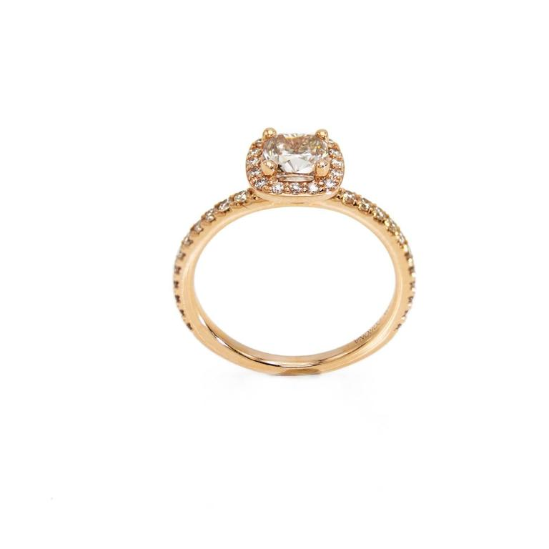 Modern Rose Gold Cushion Canadian Champagne Diamond Engagement Ring with Diamond Band For Sale