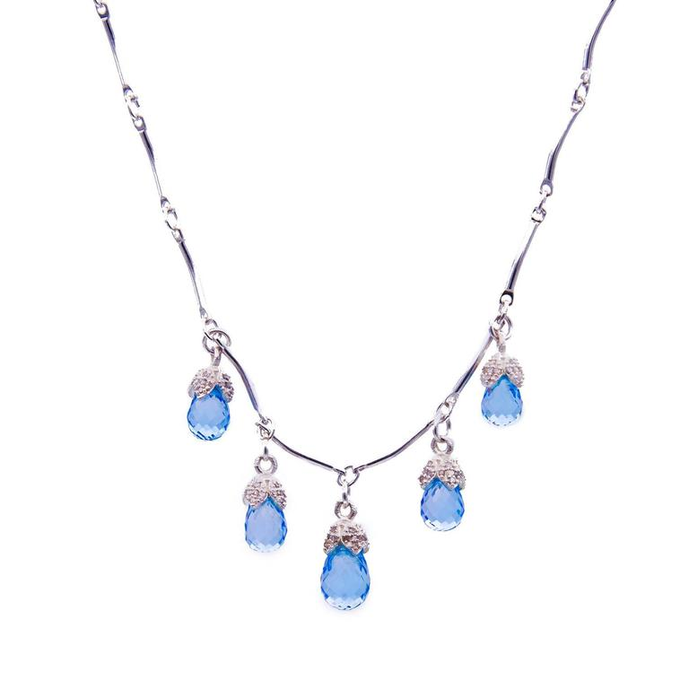 Blue Topaz and Diamond 'Droplets' Necklace For Sale