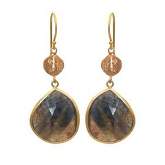 Rose Cut Sapphires with 'Ancient' Coins in 14 Karat Rose Gold Earrings