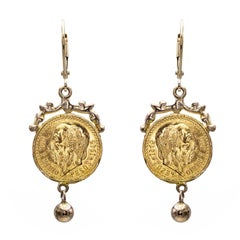22 Karat Gold Coin Drop Earrings with 14 Karat Gold Embellishment