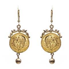22 Karat Gold Coin Drop Earrings with 14 Karat Gold Embellishment