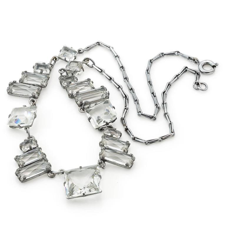 Art Deco Square Quartz Crystal Necklace In Excellent Condition For Sale In Berkeley, CA