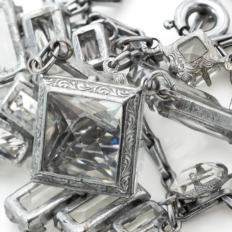 Art Deco Square Quartz Crystal Necklace For Sale 2