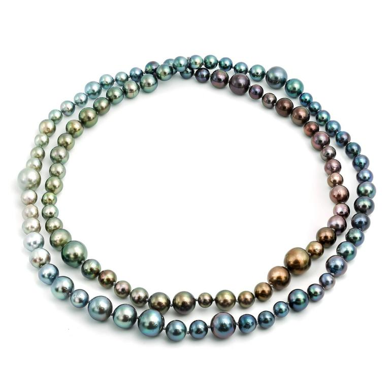 Women's Long Tahitian South Sea Rainbow Pearl Necklace in Every Natural Color