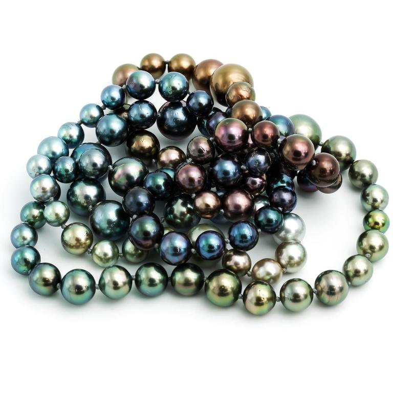 Long Tahitian South Sea Rainbow Pearl Necklace in Every Natural Color 1