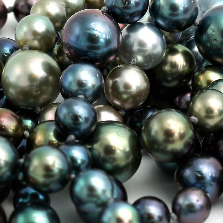 Long Tahitian South Sea Rainbow Pearl Necklace in Every Natural Color 2