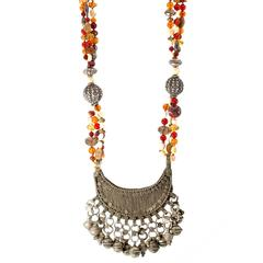 Indian Silver and Multi-Strand Necklace with Tassels, Carnelian, Amber and Shell