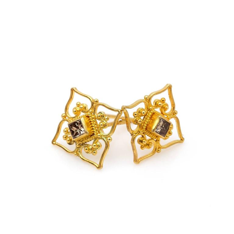Women's Princess Cut Champagne Diamond and Yellow Gold Filigree Stud Earrings For Sale