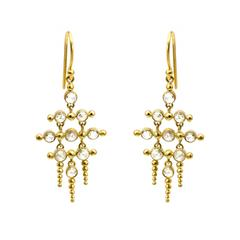 Round Rose Cut Diamond Gold Chandelier Earrings with Gold Pillars