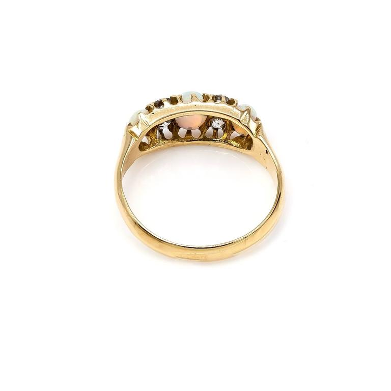 Women's Antique Victorian Opal Diamond Yellow Gold Trilogy Ring For Sale