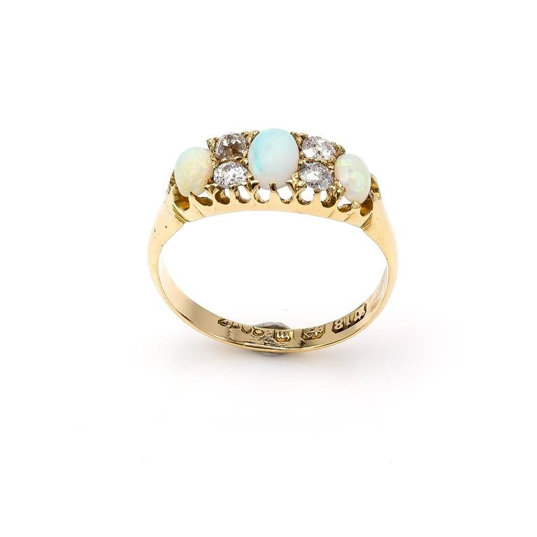 Antique Victorian Opal Diamond Yellow Gold Trilogy Ring For Sale 1